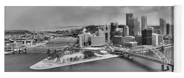 Pittsburgh Black And White Winter Panorama Yoga Mat