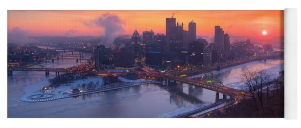 Pittsburgh Skyline Winter 2 Yoga Mat