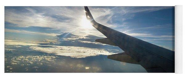 Plane Flies Over The Pacific Ocean Yoga Mat