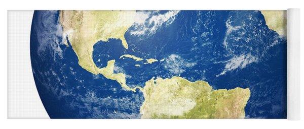Planet Earth On White - America Yoga Mat