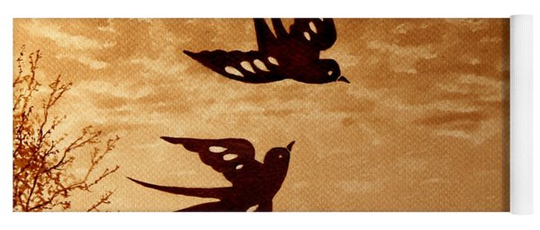 Yoga Mat featuring the painting Playful Swallows Original Coffee Painting by Georgeta  Blanaru