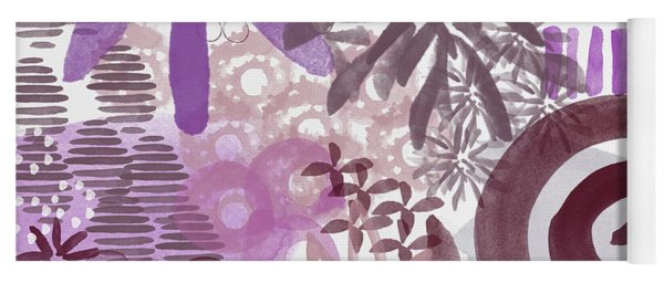 Plum And Grey Garden- Abstract Flower Painting Yoga Mat