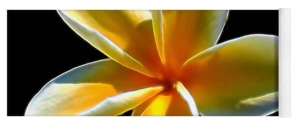 Plumeria Against Black Yoga Mat