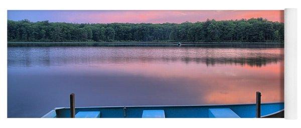 Poconos Lake Whitney Sunset Rowboat Yoga Mat