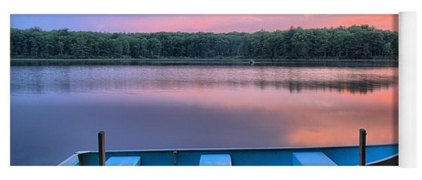 Poconos Lake Whitney Sunset Rowboat Yoga Mat