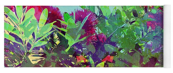 Yoga Mat featuring the painting Pohutakawa Tree by Jocelyn Friis