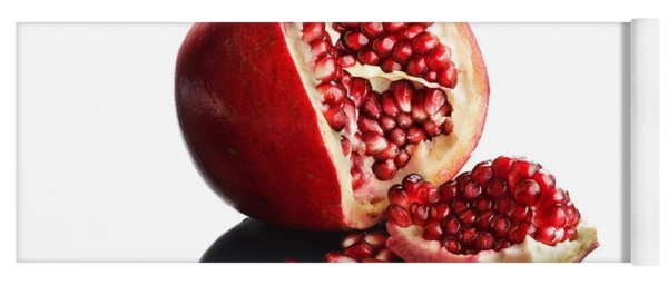 Pomegranate Opened Up On Reflective Surface Yoga Mat