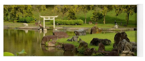 Pond Rocks Grass And Japanese Arch Singapore Yoga Mat