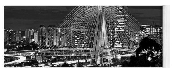 Sao Paulo - Ponte Octavio Frias De Oliveira By Night In Black And White Yoga Mat