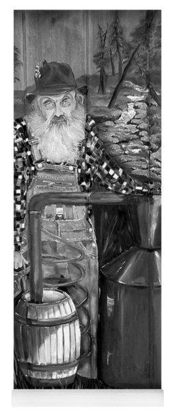 Yoga Mat featuring the painting Popcorn Sutton - Black And White - Legendary by Jan Dappen