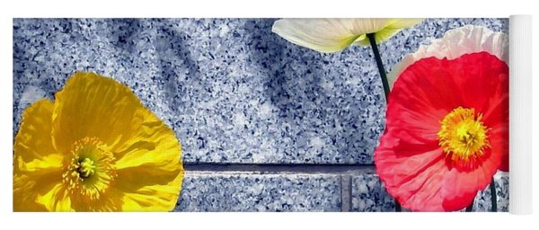 Poppies And Granite Yoga Mat