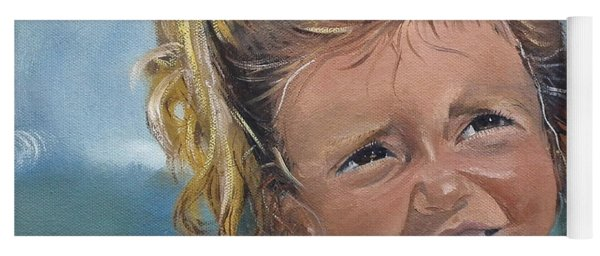 Yoga Mat featuring the painting Portrait - Emma - Beach by Jan Dappen