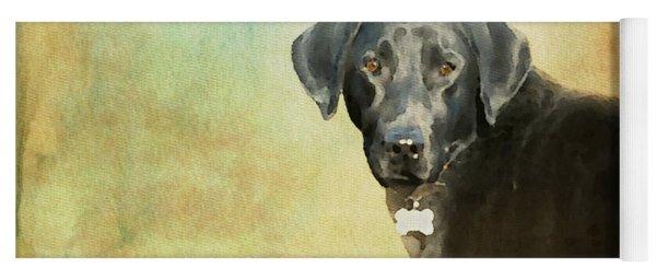 Portrait Of A Black Labrador Retriever Yoga Mat