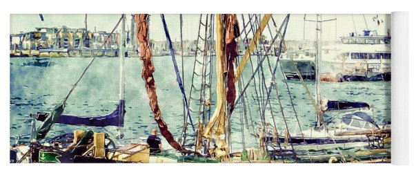 Portsmouth Harbour Boats Yoga Mat