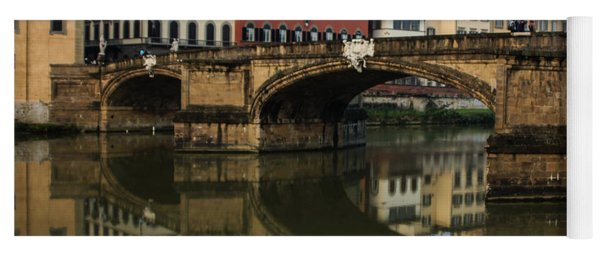 Postcard From Florence - Arno River And Ponte Santa Trinita  Yoga Mat