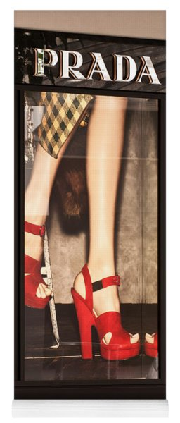 Prada Red Shoes Yoga Mat