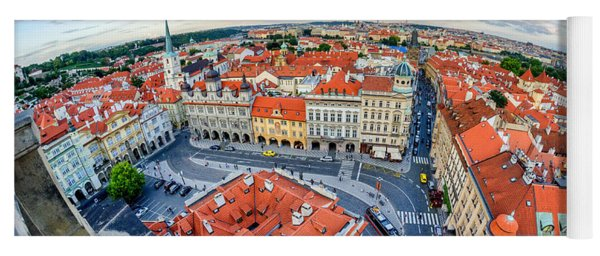 Prague From Above Yoga Mat