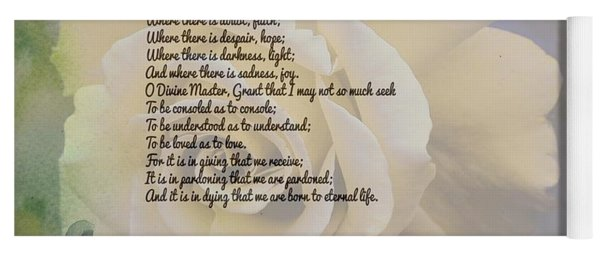 Prayer Of St. Francis And Yellow Rose Yoga Mat