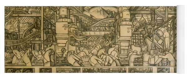 Presentation Drawing Of The Automotive Panel For The North Wall Of The Detroit Industry Mural Yoga Mat
