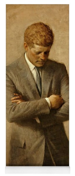 President John F. Kennedy Official Portrait By Aaron Shikler Yoga Mat
