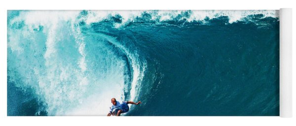 Pro Surfer Kelly Slater Surfing In The Pipeline Masters Contest Yoga Mat