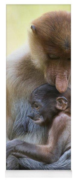 Proboscis Monkey Mother Holding Baby Yoga Mat