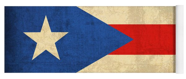 Puerto Rico Flag Vintage Distressed Finish Yoga Mat