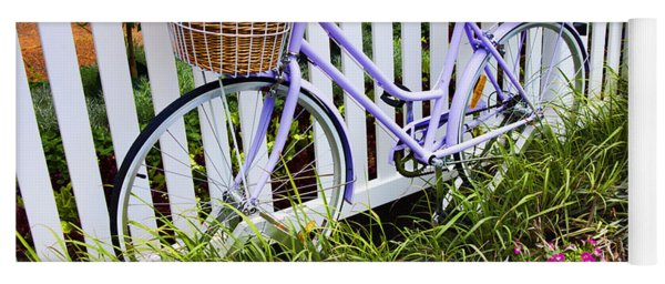 Purple Bicycle And Flowers Yoga Mat