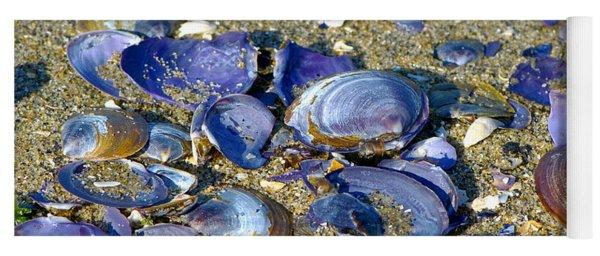 Purple Clam Shells On A Beach Yoga Mat
