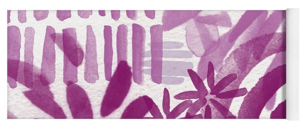Purple Garden - Contemporary Abstract Watercolor Painting Yoga Mat