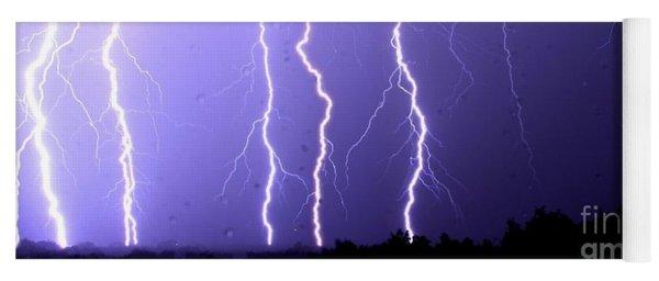 Purple Rain Lightning Yoga Mat