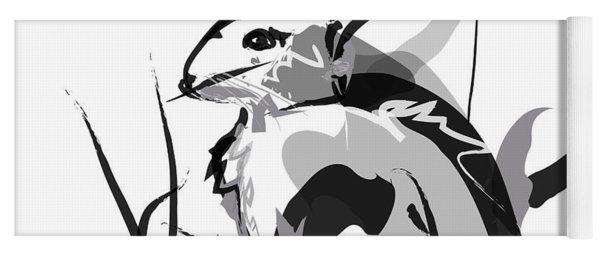 Rabbit Bunny Black White Grey Yoga Mat
