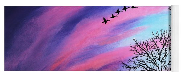 Raging Sky And Canada Geese Yoga Mat