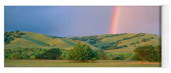 Rainbow And Rolling Hills In Central Yoga Mat