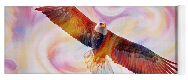 Rainbow Flying Eagle Watercolor Painting Yoga Mat
