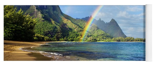Rainbow Over Haena Beach Yoga Mat