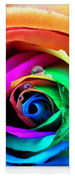 Rainbow Rose Yoga Mat
