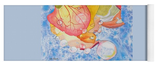 Raindrops On Roses Watercolor Art Prints Yoga Mat