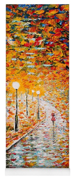Yoga Mat featuring the painting Rainy Autumn Day Palette Knife Original by Georgeta  Blanaru