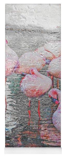 Rainy Day Flamingos Yoga Mat