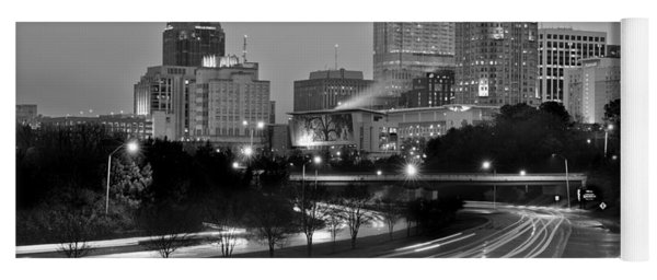 Raleigh Skyline At Dusk Evening Black And White Bw Evening Panorama North Carolina Nc Yoga Mat