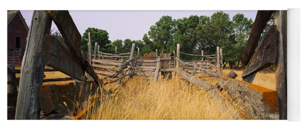 Ranch Cattle Chute In A Field, North Yoga Mat