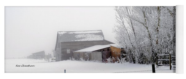 Ranch In Frozen Fog Yoga Mat