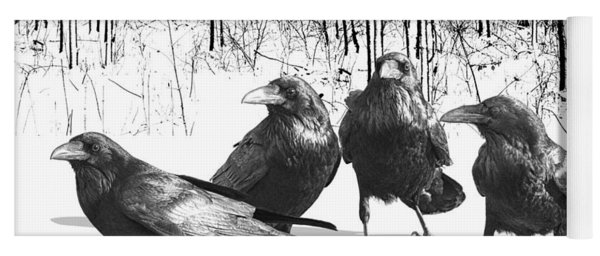 Ravens By The Edge Of The Woods In Winter Yoga Mat