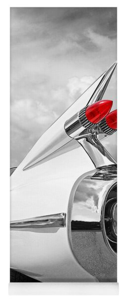 Reach For The Skies - 1959 Cadillac Tail Fins Black And White Yoga Mat