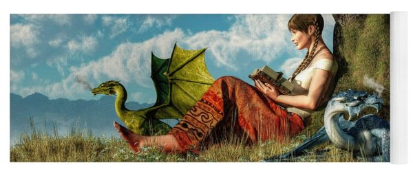 Reading About Dragons Yoga Mat