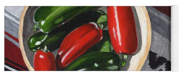 Red And Green Peppers Yoga Mat