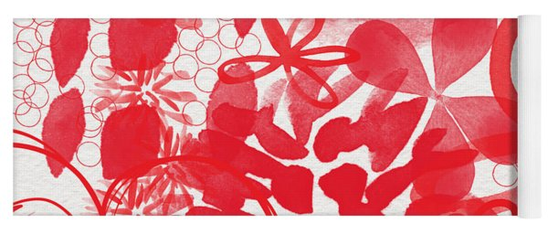 Red And White Bouquet- Abstract Floral Painting Yoga Mat