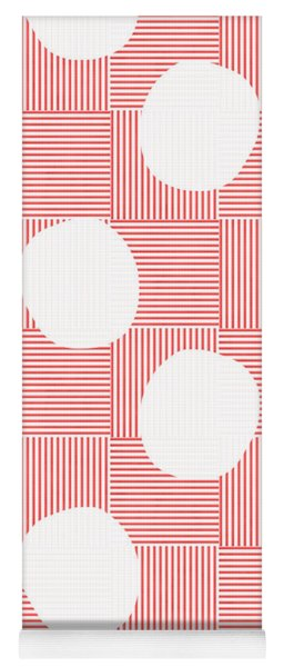 Red And White Poof  Yoga Mat