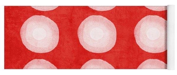 Red And White Shibori Circles Yoga Mat
